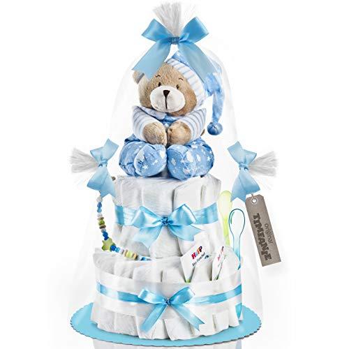 Timfanie® Windeltorte | Spieluhr Bär | 2-stöckig | baby-blau | Windeln Gr. 2 | ohne Gravur