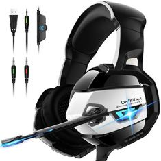 PS4 Gaming Headset - ONIKUMA Gaming Headset with 7.1 Surround Sound, Xbox One Headset with Noise Canceling Mic LED Light, Over-Ear Headphones for PS4, Xbox One, PC, Mac, Laptop, Nintendo Switch