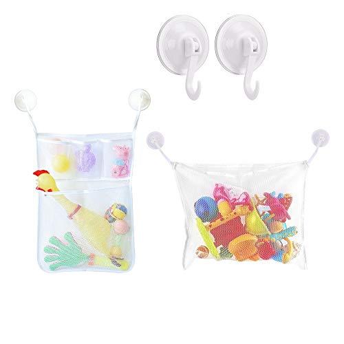 JZK 2 x Bad Spielzeug Aufbewahrung Organizer + 6 Strong Hooked, Badewanne Spielzeugnetz für Baby Kinder