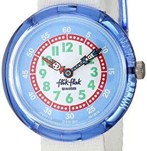 Flik Flak Kids' Color Explosion Quartz Polyester Strap, White, 14 Casual Watch (Model: ZFBNP116)