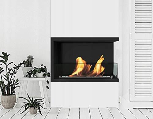 B2C Bio Ethanol Fireplace Biofire Fire Professional Corner Unit BLACK WITH GLASS (700mm Right Sided)