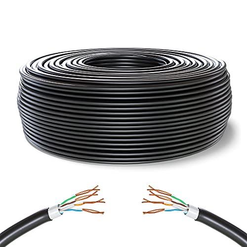Mr. Tronic 50m Bobina Cavo di Rete Ethernet per Uso Esterno | Impermeabile | CAT6, CCA, UTP, RJ45, AWG24 | Reti LAN Internet Gigabit Alta velocità | PC, Router, Modem, Switch, TV | Nero (50 Metri)