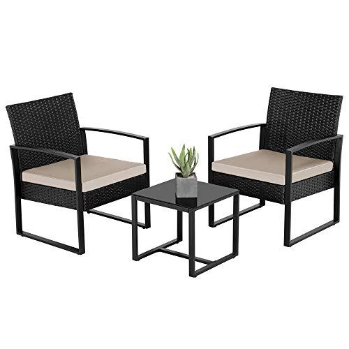 Yaheetech Set Mobili da Giardino in Poly Rattan 2 Sedie e Tavolino da Balcone con Cuscini Esterno Interno Nero/Beige