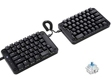 Koolertron Programmable Split Mechanical Keyboard with Cherry MX Black Switch, All 89 Keys Programmable Ergonomic Keypad, 8 Macro Keys [SMKD62](Cherry MX Black Switch (Game))
