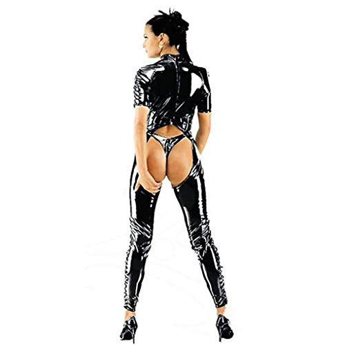 Sexy Overall Lack Anzug WetLook Catsuit Bodys Dessous Nachtkleid Clubwear Catlady Kostuem