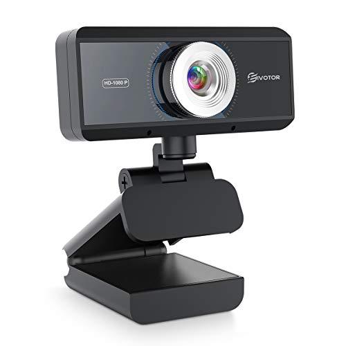 EIVOTOR USB Webcam 1080P con Microfono Full HD Telecamera PC Desktop Streaming Webcam per Registrazione, Zoom, Youtube, Skype, Videochiamate, Studio, Conferenza, Supporta Windows, Android, Linux