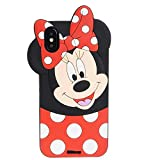Cases for iPhone XR Case, Minnie 3D Cartoon Animal Soft TPU Slim Fit Silicone Bumper Protective Cover Shockproof Case, Kids Girls Teens Gifts Cases, Thick Funny Protector Skin for iPhone XR 6.1