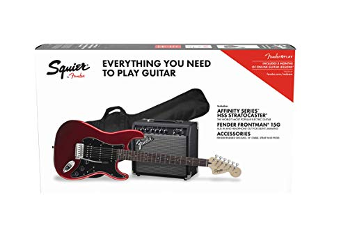 Fender Squier Affinity Stratocaster LRL HSS Candy Apple Red + Frontman 15G + Electric Guitar Case