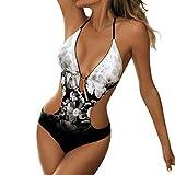 IMJONO Nouveau Été Maillot de Bain Femme 1 Pieces Sexy String Col V Halter Monokini Plage Bikini Lace Up Imprimé Maillot Une pièce rembourré Push-up Bikini Trikini Beachwear(Noir,L
