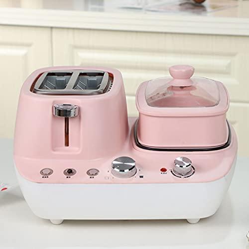 cakunmik 3 in 1 Toaster, Eierkocher, Frühstücksmaschine Multi-Kocher mit austauschbaren Platten und Dampferfunktion, 7 Temperatureinstellungen,B