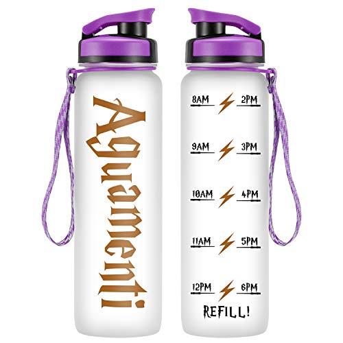 LEADO 32oz 1Liter Motivational Water Bottle w/Time Marker,...