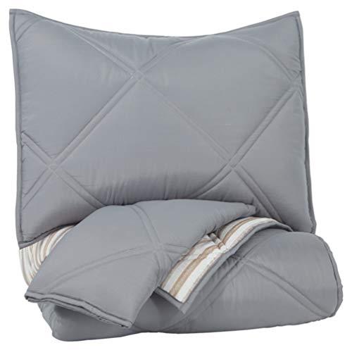 Signature Design by Ashley Rhey Twin Comforter Set, Tan/Brown/Gray