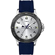 Adjustable blue 20mm silicone strap fits up to 8-inch wrist circumference Silver-tone dial with full Arabic numerals & team logo; luminant hands Silver-tone 42mm Brass case with scratch-resistant mineral glass crystal and black top ring Easy-to-set Q...