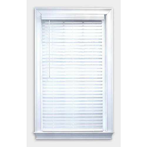 allen + roth 75394 2' Cordless White Faux Wood Plantation Blinds, 30.5' x 72'