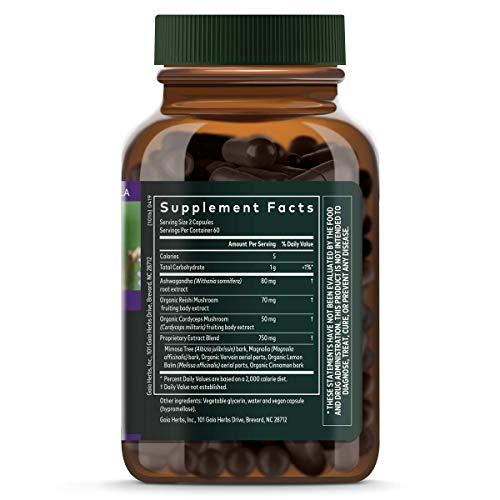 Gaia Herbs Adrenal Health Nightly Restore, Calming Sleep and Stress Support, Ashwagandha, Reishi, Cordyceps, Lemon Balm, Vegan Liquid Capsules, 120 Count 2