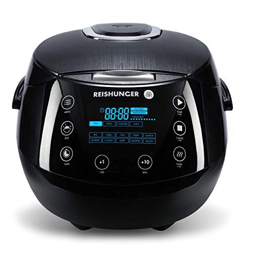 Reishunger Digitaler Reiskocher, Farbe: Schwarz (1,5l/860W/220V) Multikocher mit 12 Programmen, 7-Phasen-Technologie, Premium-Innentopf, Timer- und Warmhaltefunktion – Reis für bis zu 8 Personen