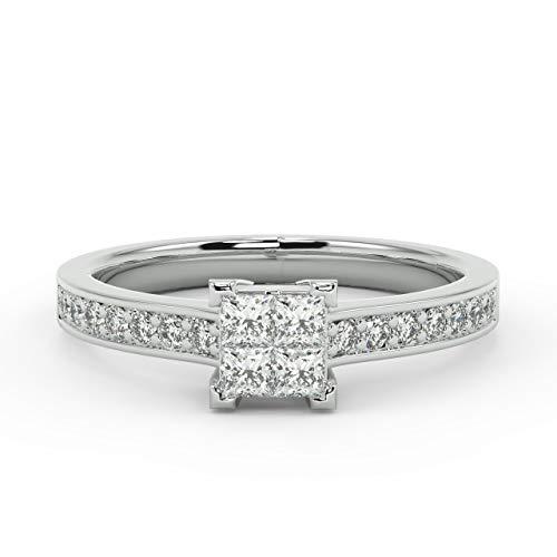 0,50 Carat princesa y diamante redondo anillo de compromiso en oro blanco
