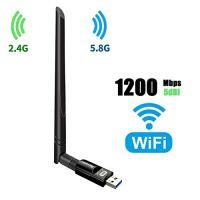 USB Wifi Adapter 1200Mbps TECHKEY USB 3.0 Wifi Dongle 802.11 ac Wireless Network Adapter with Dual Band 2.42GHz/300Mbps+5.8GHz/866Mbps 5dBi High Gain Antenna for Desktop Windows XP/Vista/7-10