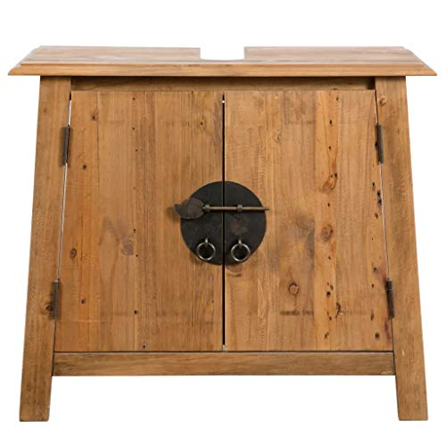 Cikonielf Waschbeckenunterschrank mit 2 Türen, Waschbeckenunterschrank mit großem Fach, aus recyceltem Kiefernholz, 70 x 32 x 63 cm