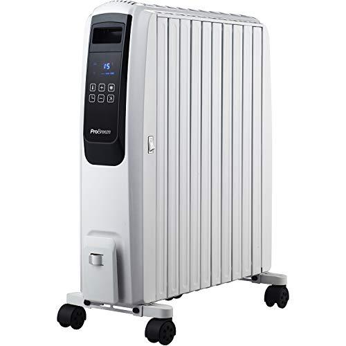 Pro Breeze Radiador de Aceite de 2500 W, 4 Niveles de Potencia, Temporizador, Termostato, Portátil con Ruedas, Calentador Eléctrico de 10 Aletas, Pantalla Digital y Mando a Distancia