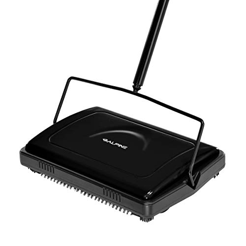 Alpine Industries Triple Brush Floor & Carpet Sweeper  Heavy Duty & Non Electric Multi-Surface Cleaner - Easy Manual Sweeping for Carpeted Floors (Black)