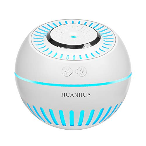 HUANHUA Mini Baby Humidifier, 380ML Mist Cool Desk Humidifiers, Not Rechargeable, with 7 Changing Color LED Light Waterless Auto Shut Off Whisper Quiet for Home Baby Room Office Car