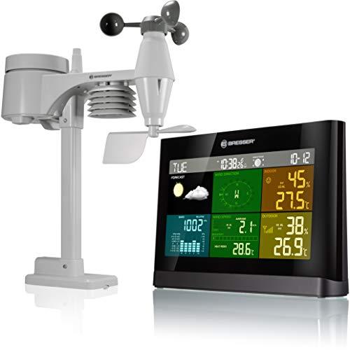 Bresser station météo radiopilotée avec capteur extérieur 5-en-1 (température, pression atmosphérique, humidité, anénomètre, pluviomètre)