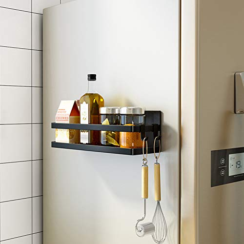 SNTD Magnetic Shelf Organizer Kitchen Spice Rack Laundry Shelves w/Utility Hooks, Black