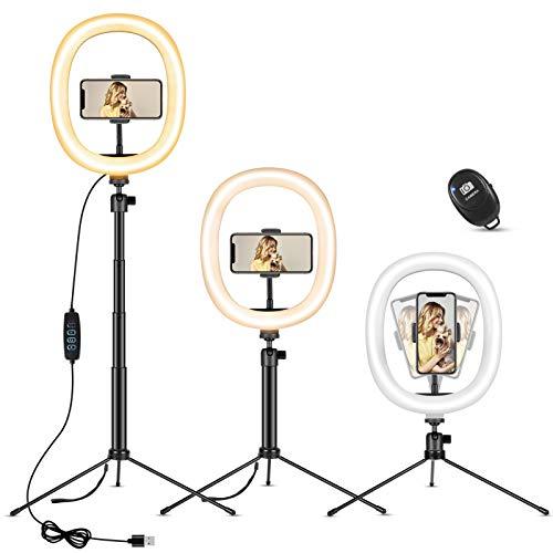 """Aro de Luz con Trípode 10"""", MOSUO LED Anillo de Luz fotográfica de Escritorio con 3 Color 10 Brillo, Wireless Control Remoto y Alimentado por USB para Tiktok Live Selfie Volg Youtube"""
