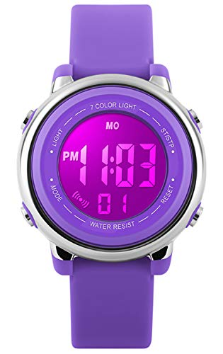 Kids Watch Sport Multi Function 50M Waterproof LED Alarm Stopwatch Digital Child Wristwatch for Boy Girl Purple