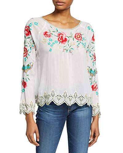 Reena georgette top with a scallop hem and floral embroidery. Scoop neckline. Long sleeves. Relaxed silhouette. Scallop hem. Pullover style. Rayon. Machine wash. Imported. Johnny Was designs draw inspiration from music and bohemian influences. The collection features a modern interpretation of vintage boho chic, with flowing silhouettes and luxurious fabrics