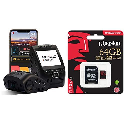 "Rexing V1-4K Ultra HD Car Dash Cam 2.4"" LCD Screen, Wi-Fi, 170° Wide Angle, G-Sensor, Loop Recording, Supercapacitor & Kingston Canvas React 64GB 100MB/s (U3 A1) microSDXC Memory Card with Adapter"