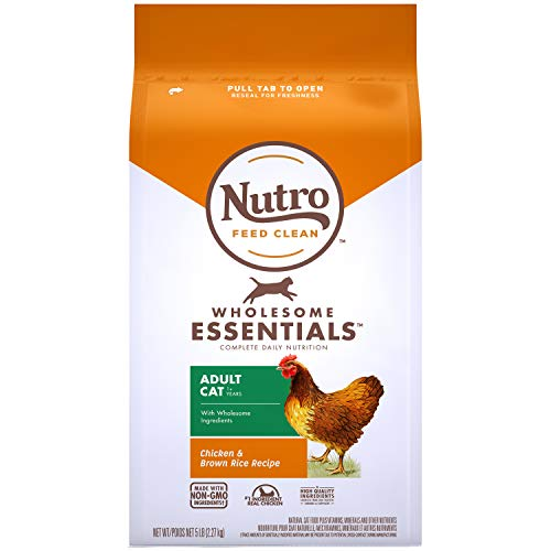 NUTRO WHOLESOME ESSENTIALS Natural Dry Cat Food, Adult Cat Chicken & Brown Rice Recipe, 5 lb. Bag