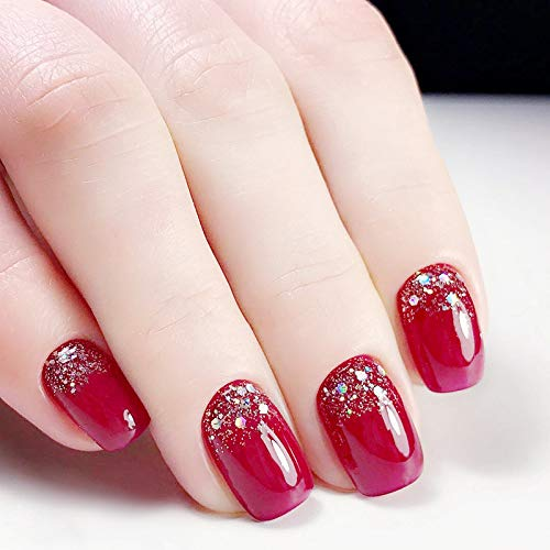 24 Pcs Set Wine Red Chic Glitter Bling Short Press On Nails Artifical Nail Tips with Glue and Adhesive Tab