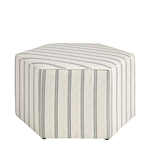 Amazon For Martha Stewart Ellen Coffee Table Solid Wood Frame Soft Fabric Large Accent Ottoman Modern Foam Padded Top Footstool Cocktail Living Room Furniture Natural 32 X 32 X 18 Grey Stripes Accuweather Shop