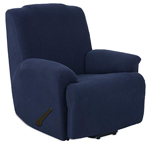 TIANSHU Funda de Sillón Relax Tejido Jacquard de poliéster y Elastano Fundas de sofá Suaves duraderas(Sillón Relax,Azul Oscuro )