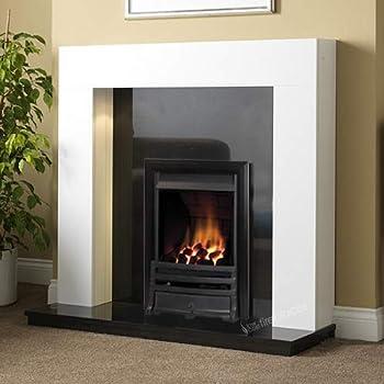 Gas White Surround Black Granite Stone Flame Black Fire Modern Fireplace Suite Spotlights Large 54 Amazon Co Uk Diy Tools