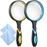 Dicfeos 2 Pack Magnifying Glss, 4X Handheld Reading Magnifier for Kids and Seniors, 3 Inch Non-Scratch Quality Glass Lens, Shatterproof Design, Microfibre Cleaning Cloth Included