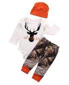 Newborn Baby Boy Girl Deer Romper Pants Leggings Hat 3pcs Outfits Set Costume (0-3 Months, Deer)