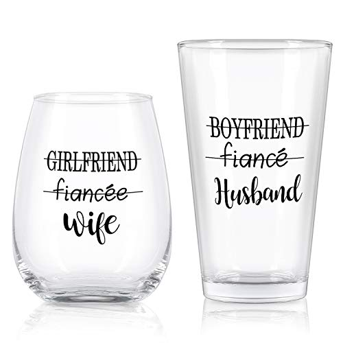 Husband Wife Stemless Wine Glass and Beer Glass Combo, Great...