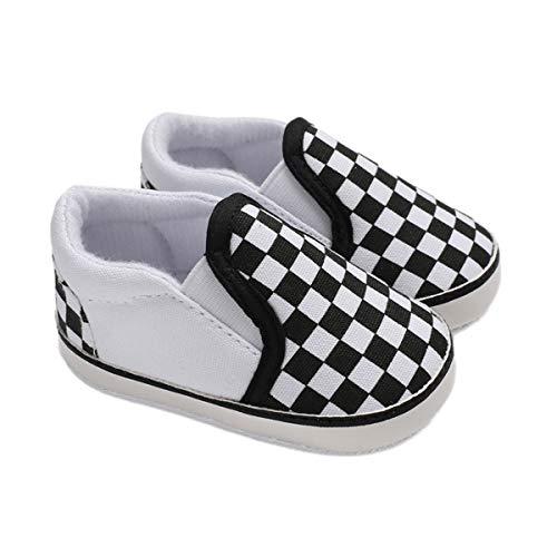 DEBAIJIA Bebé Primeros Pasos Zapatos de Lona0-6M NiñosAlpargata Suave Antideslizante Ligero Slip-on 17 EU Blanco (Tamaño Etiqueta-1)