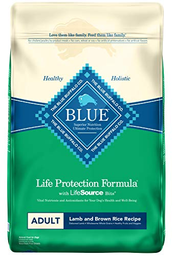 Blue Buffalo Life Protection Formula Adult Dog Food – Natural Dry Dog Food for Adult Dogs – Lamb and Brown Rice – 30 lb. Bag