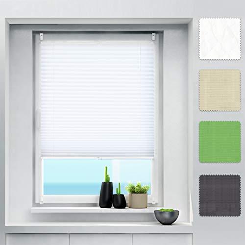 Plissee Klemmfix ohne Bohren Jalousien Rollo, Plisseerollo mit Klemmfixträger, Faltrollo sichtschutz und Sonnenschutz, Plissee Rollo für Fenster und Tür - Weiß 100 x 100 cm