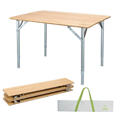 ATEPA Bamboo Folding Table With Carrying Bag, 4-Fold Heavy Duty Adjustable Height Aluminum Camping Table, Compact Lightweight Portable Outdoor Picnic Table, 31.5  23.6 17-25.6 Inches, 11.5Lbs