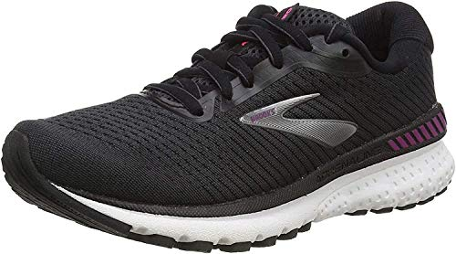 Brooks Women's Adrenaline Gts 20 Running Shoe, Black/White/Hollyhock, 5 UK (38 EU)
