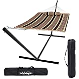 Zupapa 15 Feet Hammock with Stand Heavy Duty 550 Pounds Capacity with Spreader Bars and Pillow, 2 Person Double Hammock for Indoor Outdoor Use, 2 Storage Bags Included (Coffee Stripe)