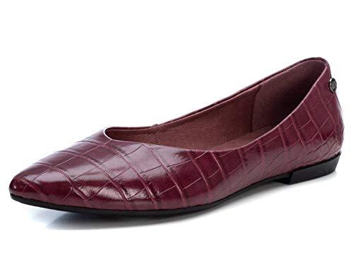 XTI - Zapato Tipo Bailarina para Mujer - Suela de Goma - Burdeos - 37 EU