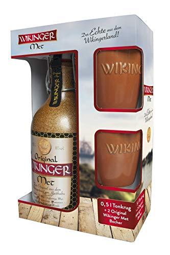 Original Wikinger Met | 1x0,5L im Tonkrug inkl. 2 Becher | Honigwein aus der Wikingerland Haithabu | fruchtig aromatisch | Das Original