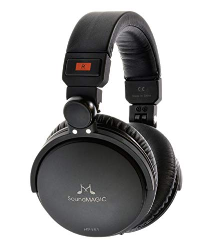 SoundMAGIC HP151 Haute Fidélité Casque Over-Ear Oreillettes pliants à dos fermé écouteurs le casque audiophile avec isolation phonique - Noir