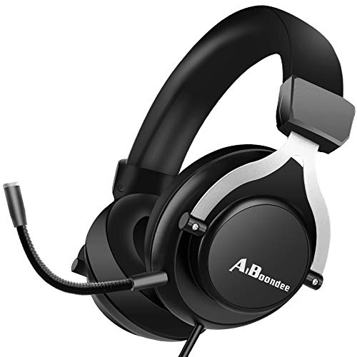 PC Gaming Headset 3.5mm Audio Stereo Sound PS4 Gaming Headphone for Mac Latop Nintendo Switch Games,50mm Driver Noise-Isolation Microphone Gamer Headset (Black)